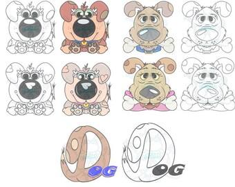Dogs Digital Clip Art Hand Drawn Instant downloads, Dog, Puppy, Word Clip Art, Word, Dog Clip Art, Mini Clip Art Set, Digital Artwork, Art