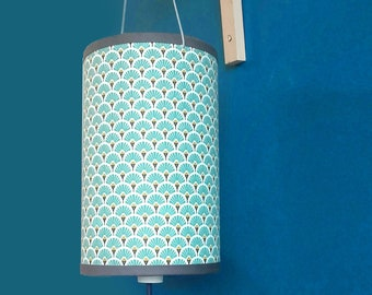 LAMP light aqua blue and mustard yellow art deco pattern