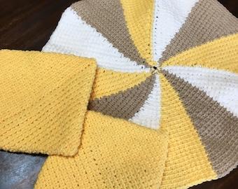 Pot Holders- Crochet Potholders, Handmade Pot Holders, Potholders Set of Three, Hot Pads, Yellow, White and Beige Hotpads
