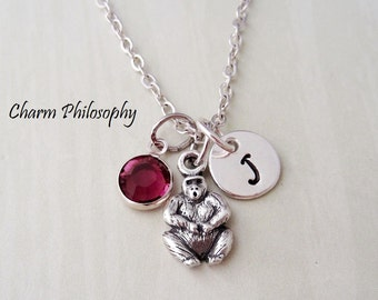 Gorilla Necklace - Personalized Initial and Birthstone Bead - 925 Sterling Silver Jewelry - Small Ape Charm - King Kong Jewelry