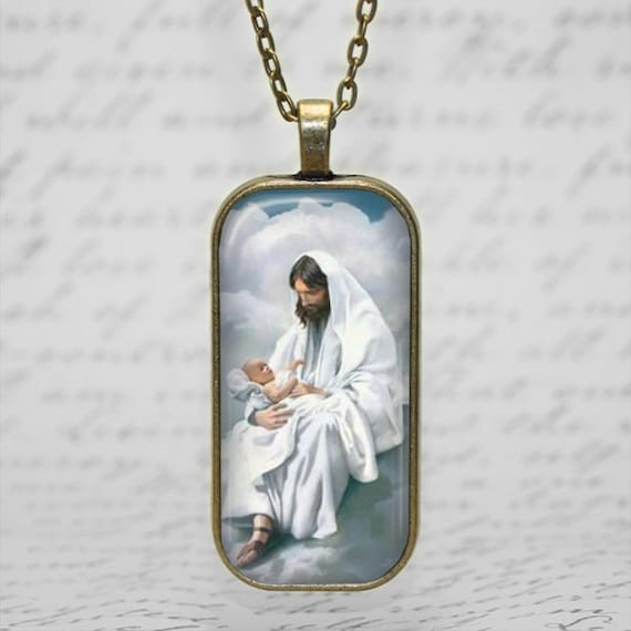 Jesus holding Baby in heaven Remembrance  Pendant, including antique  bronze  18 or 24 inch chain -Baby Memorial Pendant, Baby Loss Necklace