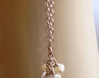 Fil rose Briolette améthyste pendantes avec perle blanche et rondelles de cristal collier en argent Sterling Cluster--mariée / mariage