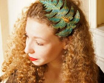 Fiber Art Leaf Green-Blue Silk Fern Headband  Botanical Fascinator Woodland Natural History Nature Lover Gift for Her Free Shipping