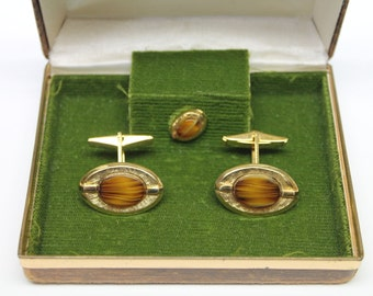 vintage gold metal cuff links,Dynasty tiger's eye set in gold Metal Cuff links,tiger eye Cuff links & Tie Tack,Original Box,man's gift,prom