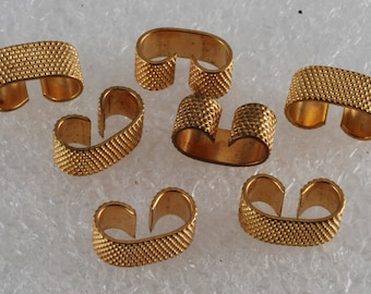 Vintage Set of 6 Bumped Gold Metal Connectors Jewelry Making DIY Repurpose