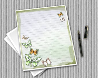 Butterfly Writing Paper - Printable Journal Pages - DIY print paper set - Butterfly Notepaper - Printable Stationary - Digital Paper