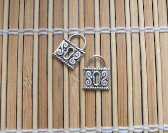 2 silver padlock charms
