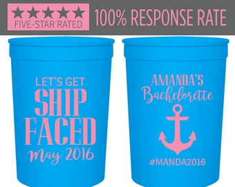 Let's Get Ship Faced Stadium Cups, 16oz Bachelorette Stadium Cup, Wedding Stadium Cups, Party Stadium Cup, Custom Cruise Stadium Cups (40)