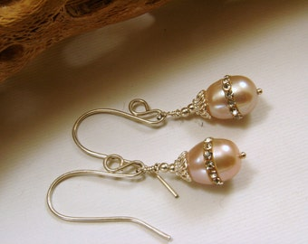Sterling Silver and Pearl Embellished with Crystals Earrings, Pearls Embellished with Crystals Earrings