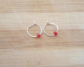 Delicate Red Bead Hoops