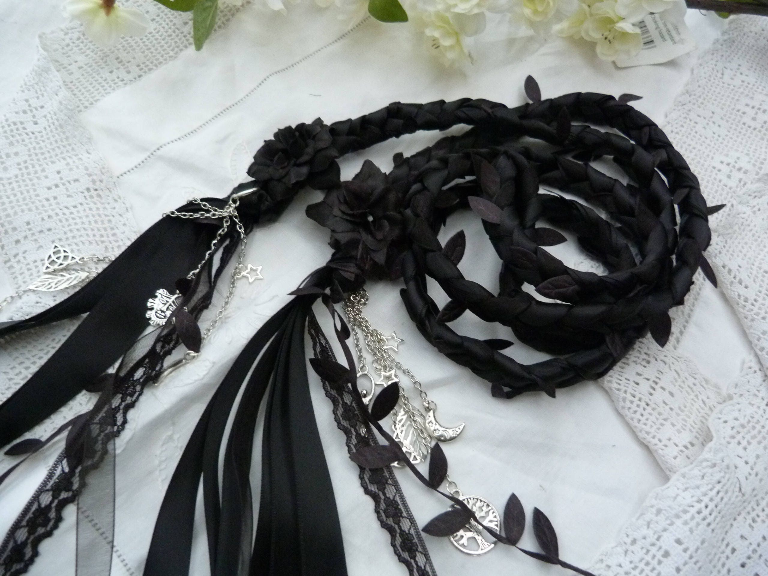 Black lace Handfasting wedding binding cord All Black with lace, chiffon, satin, leaves, hand stitched flowers silver charms samhain
