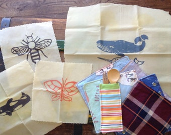 Zero waste lunch kit, kids lunch utensils, bring your own set, Beeswax wraps, non plastic, eco friendly lunch, cloth napkins, bamboo fork an