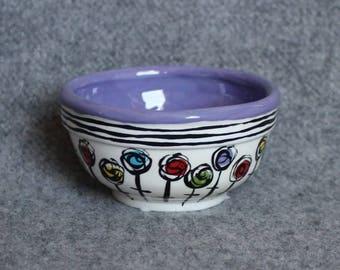 Lollipop Flowers Mini Bowl, Teacher Appreciation, Stripes, Food prep bowls, dip bowls, jewelry dish, snack dish, gift card holder