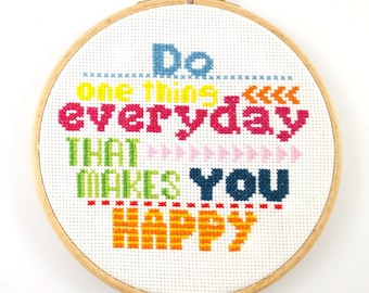 Do one thing everyday - Cross stitch pattern - Quote embroidery