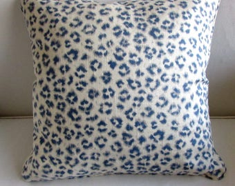 CHEETAH LINEN pillow cover 20x20 in Denim