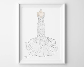 Custom Wedding Gown Illustration, Bridal Gown Illustration, Gown Portrait, Bride Gown Drawing, Wedding Dress Illustration