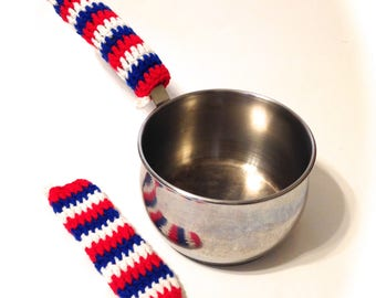 Patriotic Striped Crocheted Pot Handle Covers-Pair