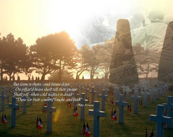 Colleville Sur Mer Cemetery, Normandy, Photoprint, Freneau Verse, WWII Veterans Tribute
