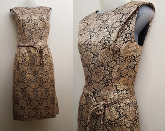 1960s Dress // 50s/60s Metallic Gold and Black Brocade Evening Dress Small