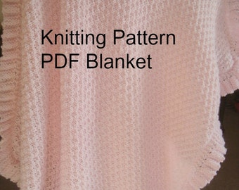 KNITTING PATTERN -Baby  Blanket with Ruffle- Easy Knit Pattern - PDF  Pattern-diy