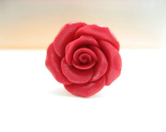 Lovely Red Rose Ring, rose gift, rose jewelry, flower ring, flower jewelry, floral ring, gift for her, friend gifts, polymer clay, red ring
