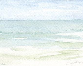 Blue Ocean Art, Bathroom Decor, Nursery Decor, Boys Room, Coastal Fine Art, Calming, Peaceful, Green Seascape, Impressionism, Jersey Shore