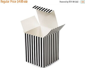 Mothers Day Sale 6 Pack Black and White Stripe Paper Tuck Top Style Packaging Retail Gift Boxes 3.25X3.25X3.25 Inch Size