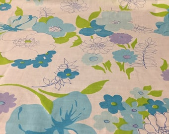 Vintage Floral Double Bed Flat Sheet - Shades of Blue, Mauve / Purple and Green