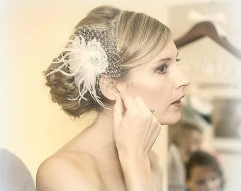 Wedding Headpiece, Feather Hair Clip, Feather Fascinator, Headpiece, Bridal Hair Comb,  vintage Gatsby style,  Bridal Hair Piece, Hairpiece