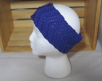 Womens Blue Chevron Headband-Crocheted Soft Washable Wool Ear Warmer