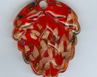57mm x 40mm Bright Red with Gold Glass Lampwork Leaf Focal Bead Pendant