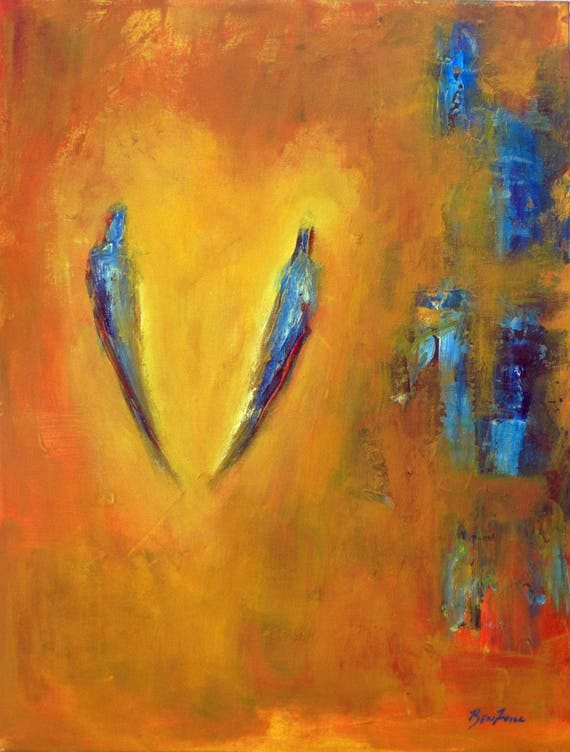 SOULMATES Romantic Painting Oil Abstract Yellow Blue Wall Art 24x18 by BenWill