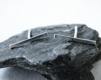 Silver bar earrings, silver line earrings, minimalist line earrings, edgy earrings