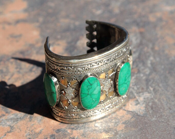 BRACELET (1pc) Turkoman Tribal Real MALACHITE Gold Plated BellyDance 502a1