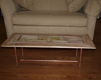 Coffee table - handmade - mosaic - reclaimed wood - copper legs