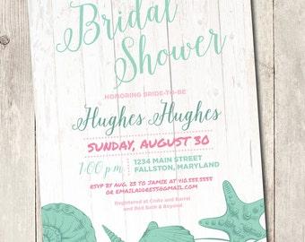 beach bridal shower invite, printable invitation, shabby chic invitation seashells boardwalk vintage mint and pink beach theme personalize