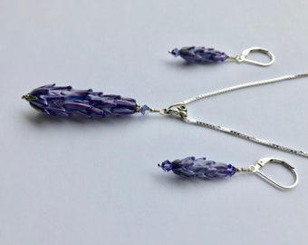 Lavender Glass Bead Pendant and Earring Set