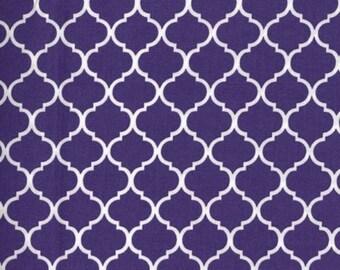 Mini Quatrefoil Fabric White on Deep Purple 100% Cotton