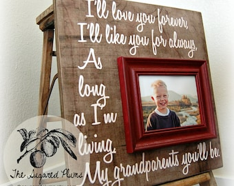 GRANDPARENTS GIFT Mothers Day Gift Personalized Frame 16x16 Grandma Gift Grandpa Grandparents The Sugared Plums