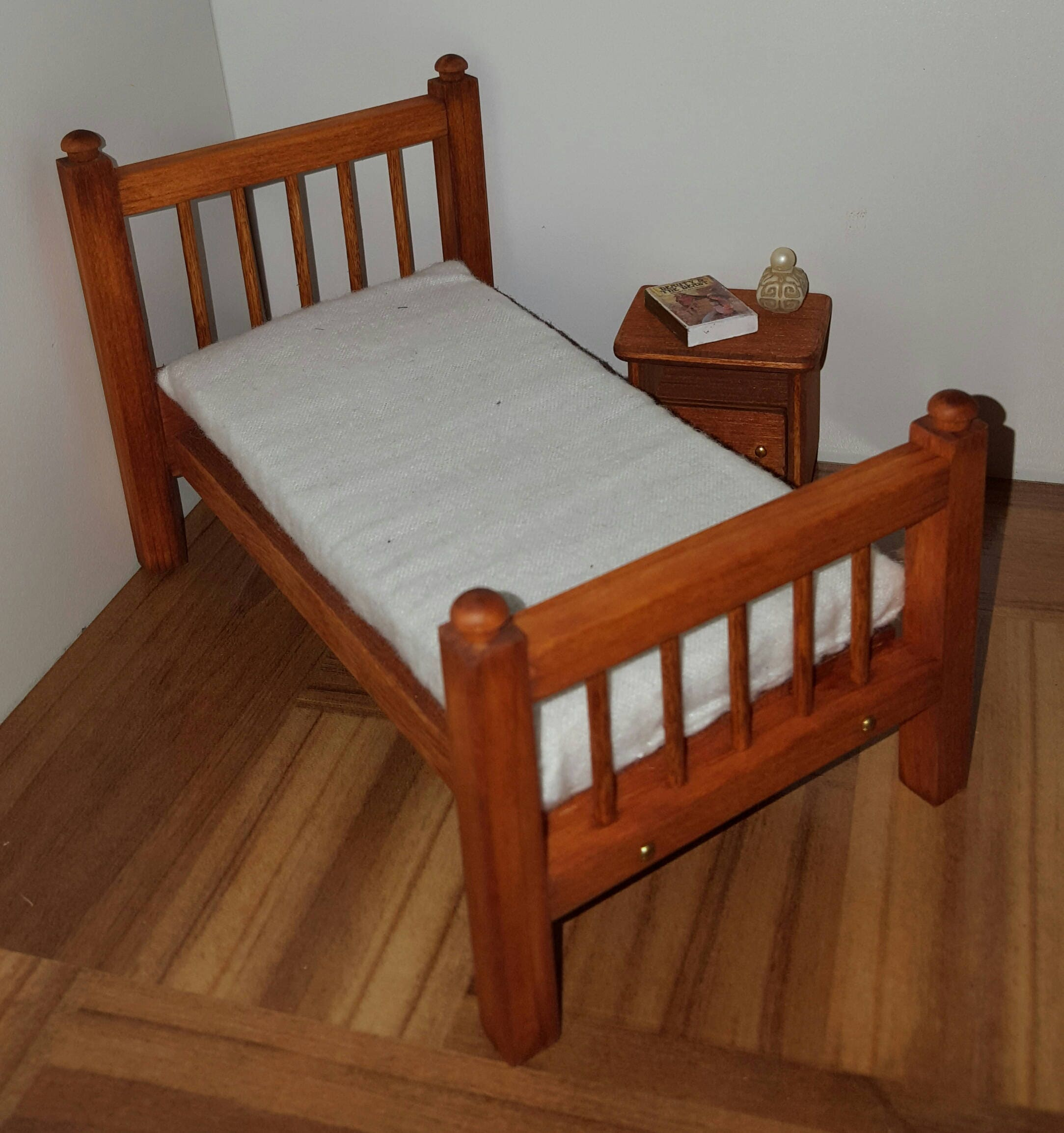 Stained 1:12 Scale Bed With Mattress/ 1/12 Scale Furniture/