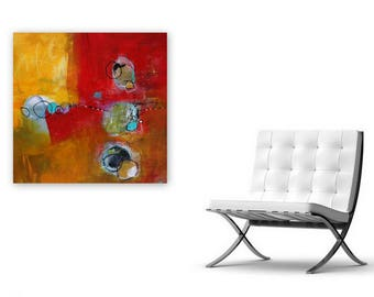"""Modern original abstract in warm bright red and yellows 20 x 20  """"Her Arms Wide Open""""  by author and artist, Jodi Ohl"""