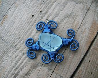 Sea glass pendant, blue copper wire, wire wrapped pendant, Birthday gift, genuine sea glass, genuine sea stone, beach stone pendant