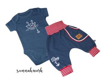 "Baby-Set ""Loveboat"" Gr. 56 dunkelblau, maritim, ringel, rot, weiß, Boot, Anker, Sweat, Geschenk, Body, Bodysuit, Onesie, Pumphose"