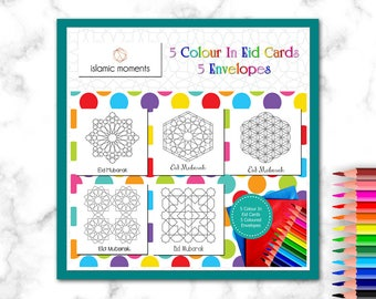 DIY Colour In Eid Cards, Colouring In Cards - Geo Set