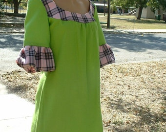 Lime green and pink plaid dress