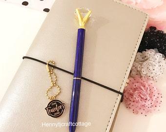 Large Diamond Top Ballpoint Pen : Dark NAVY Blue Metal - BLACK Ink Rhinestone Crystal Gem Pen   School Office Planner Desk AccessorY