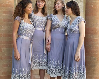 Bespoke Vintage Style Lace Bridesmaids Dresses In Periwinkle Lace