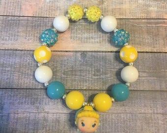 Cinderella TsumTsum beaded bracelet. TsumTsum bracelet. Blue, Yellow and White beaded bracelet. Disney bracelet.