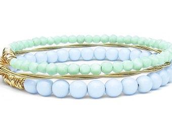 Bangle Bracelets // Set of 3 Beaded Bangle Bracelets // Purple, Mint, Gold Beaded Bracelets // Bridesmaid Gift // Wedding Jewelry Bracelets