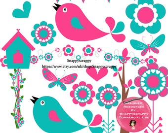 Love Bird Clipart, Valentines Day,  Digital Scrapbooking, Pink and Blue Birds Digital Scrap Kit, Commercial Use